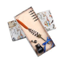 2019 New European Retro Natural Feather Pen Set Dip Water Founta Gift Box Practical Birthday for Friend Writing Tool