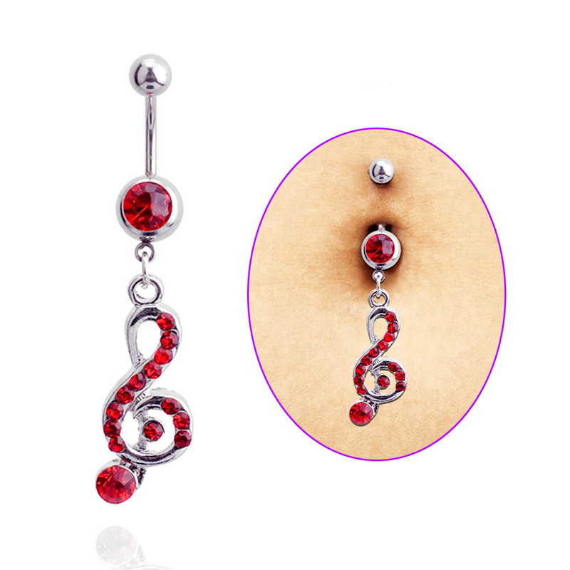 Fashion Surgical Steel Rhinestone Music Note Long Dangle Navel Belly