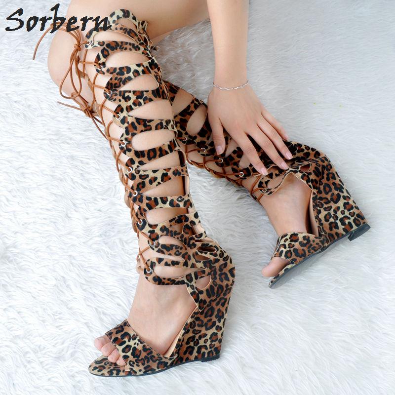 Sorbern Leopard Women Sandals Wedges Plus Size Shoes Lace Up High Heels For Women Sandalias Mujer 2018 Big Size Women Shoes alluring plus size keyhole neck flounced lace blouse for women