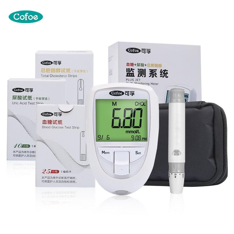 Cofoe cholestérol urique acide glucomètre test kit 3 dans 1 moniteur avec Bandelettes de Test pour lipides sanguins anormale, la goutte, les diabétiques