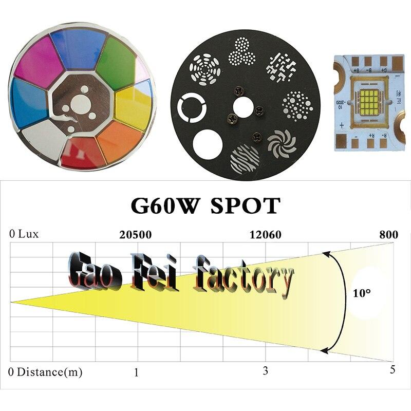 (2 pcs/lot) Mini Spot 60W LED lumière principale mobile avec plaque Gobos et plaque de couleur, haute luminosité 60W Mini LED lumière principale mobile DMX512 - 6