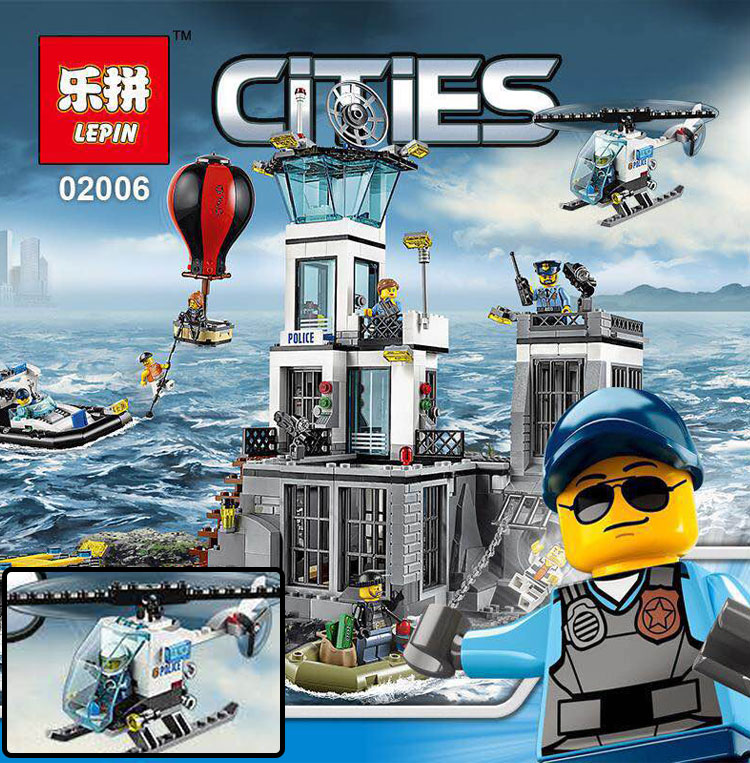 Lepin 02006 815Pcs City Series Prison island set Children Educational Building Blocks Bricks Boy Toys With 60130  lis lepin 02006 815pcs city series prison island set children educational building blocks bricks boy toys with 60130