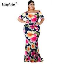 Laughido Plus Size Slash Neck Bodycon Maxi Women Dress Beach Boho Short Sleeve Vestidos Summer Floral Print Party Robe