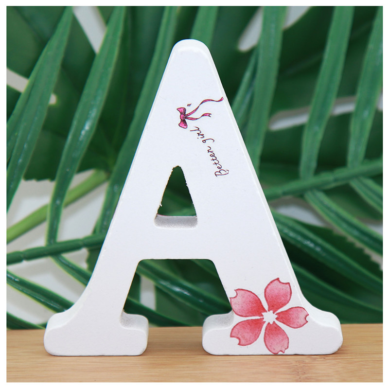 1pc 10X10cm Wooden Letters Decorative Alphabet Hand Made Word Letter Name Design Art Crafts Standing Bow Shape Wedding Home DIY