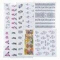 50 Hojas Mezcla de Estilos Watermark Flor Gato Etc Pegatinas Nail Art Tips Adhesivos Herramientas de Belleza Tatuajes Temporales de Transferencia de Agua
