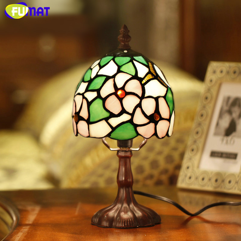 все цены на FUMAT Stained Glass Table Lamp Bedside Sakura Lamp Living Room Hotel Bar Art Glass Shade Desk Lamp Bedside Light Fixtures