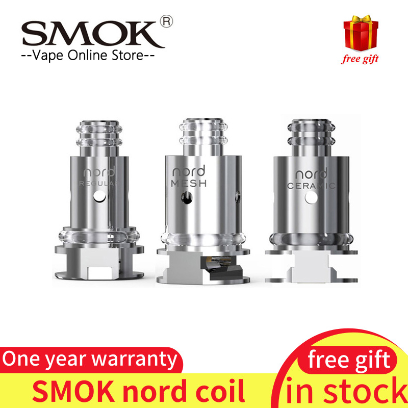 Original 5pcs SMOK Nord Coil with Regular 1 4ohm Coil and 0 6ohm Mesh Coil  for SMOK Nord kit replacement Electronic Cigarette