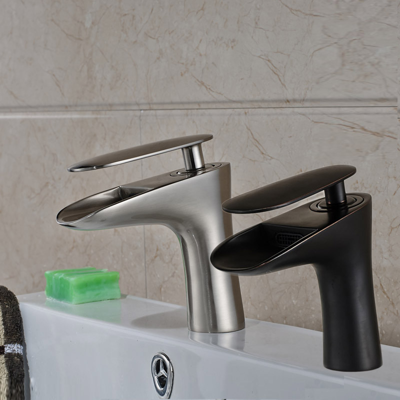 Free shipping Short Bathroom Sink Faucet One Handle Single Hole Mixer Taps Brushed Nickel and ORB. Popular Discount Bathroom Faucets Brushed Nickel Buy Cheap