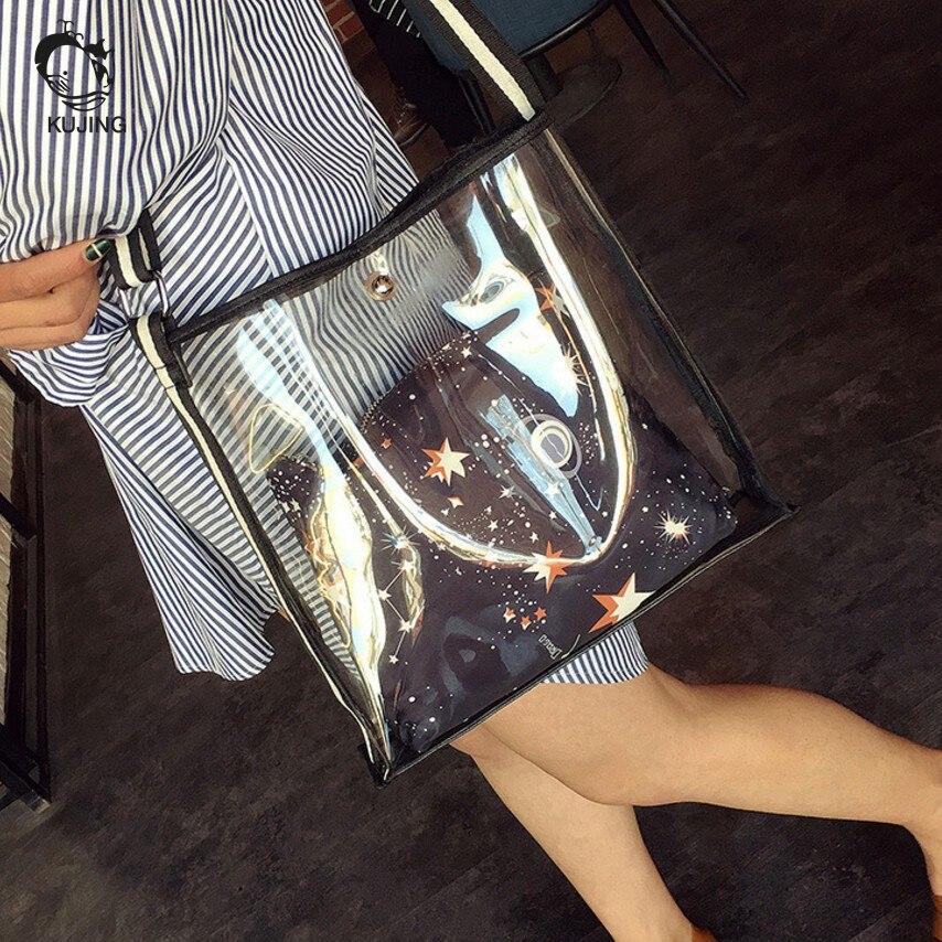 KUJING Fashion Handbags High Quality Transparent Women's Shoulder Messenger Bag Cheap Luxury Women Beach Bag Casual Shopping Bag