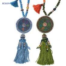 Ожерелье ручной работы в стиле бохо с подвеской украшенное деревянными