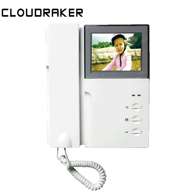 CLOUDRAKER Doorbell Phone-System Video-Intercom Audio Two-Way LCD 4 with Handset