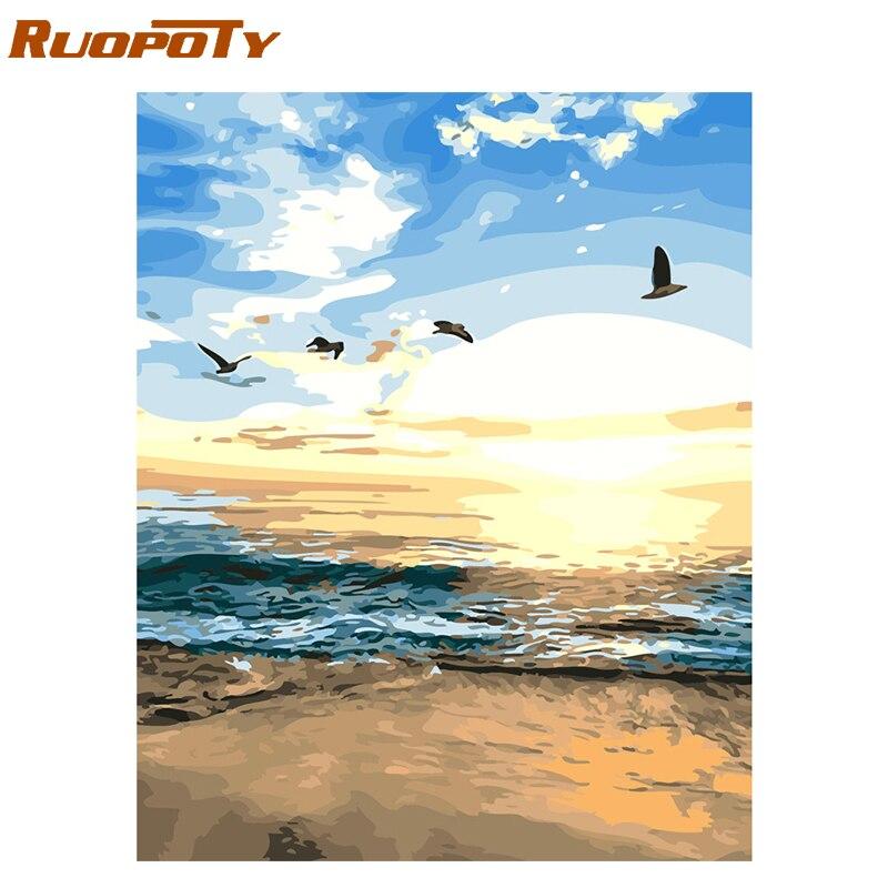 RUOPOTY Rahmen Seascape DIY Malerei Durch Zahlen Acryl Farbe Durch Zahlen Handgemalte Öl Malerei Für Home Dekore 40x50 cm Kunstwerk