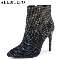 ALLBITEFO Hot Sale Rhinestone Pointed Toe Thin Heel Women Boots High Heels High Quality Winter Boots