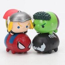 Marvel the Avengers Endgame 8pcs/set Tiny Tsum Tsum Mini Spider man Iron Man Hulk Captain America Loki PVC Avengers Figure Toys
