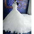 Белый Свадебные Платья Высокая Шея Аппликации Бисероплетение Пояса Империя Собор Продольный Свадебное Платье 2016 Vestido Де Casamento