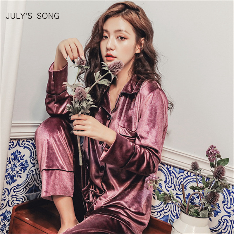 JULY'S SONG Winter   Pajamas     Set   Woman Warm Sleepwear Deep Gold Velvet   Pajamas   Sleepwear Long Sleeves Pants 2 Peices Nightwear
