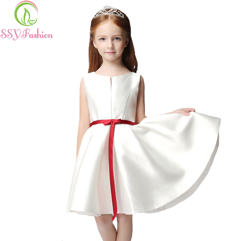 Simple Wedding Dress For Godmother: SSYFashion New Simple Satin Flower Girl Dresses For