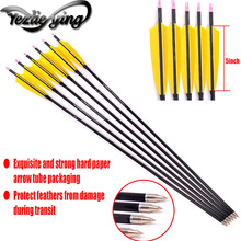 6/12 Carbon Arrow Spine 300 Pure Carbon Arrow 5 Inch Axis Arrow Yellow Turkish Feather Recurve Bow Hunting Archery цены