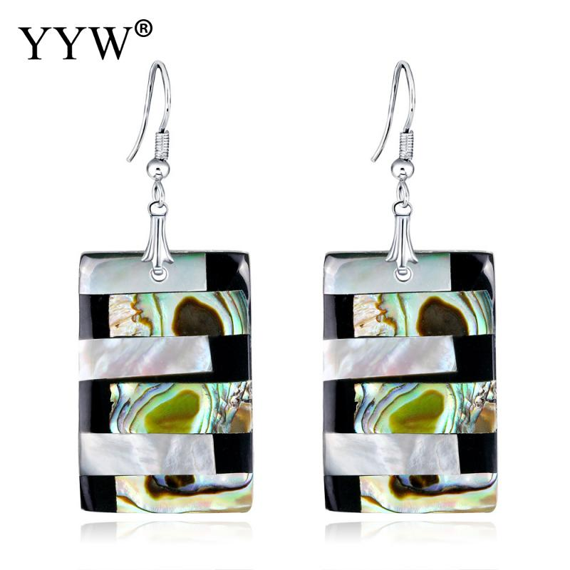 3pairs/lot Abalone Shell Dangle Earrings for Women Fashion Natural Stone Rectangle Large Drop Earrings Jewelry Gifts Wholesale