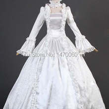 18th века белая атласная парча времен Марии Антуанетты платье бальное платье