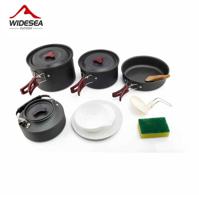 Widesea 4-5 persons camping tableware outdoor cooking set camping cookware travel tableware pots pan coffee kettle picnic set