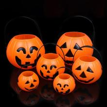 1pc Halloween Pumpkin Trick Treat Sweet Candy Carry Holder Jar Jug Barrel Party Pumpkin Festival Lantern A10