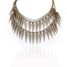 2017 New Cool Vintage Rivet Girl Necklace Punk Sharp Spike Pendant Tassel Chain