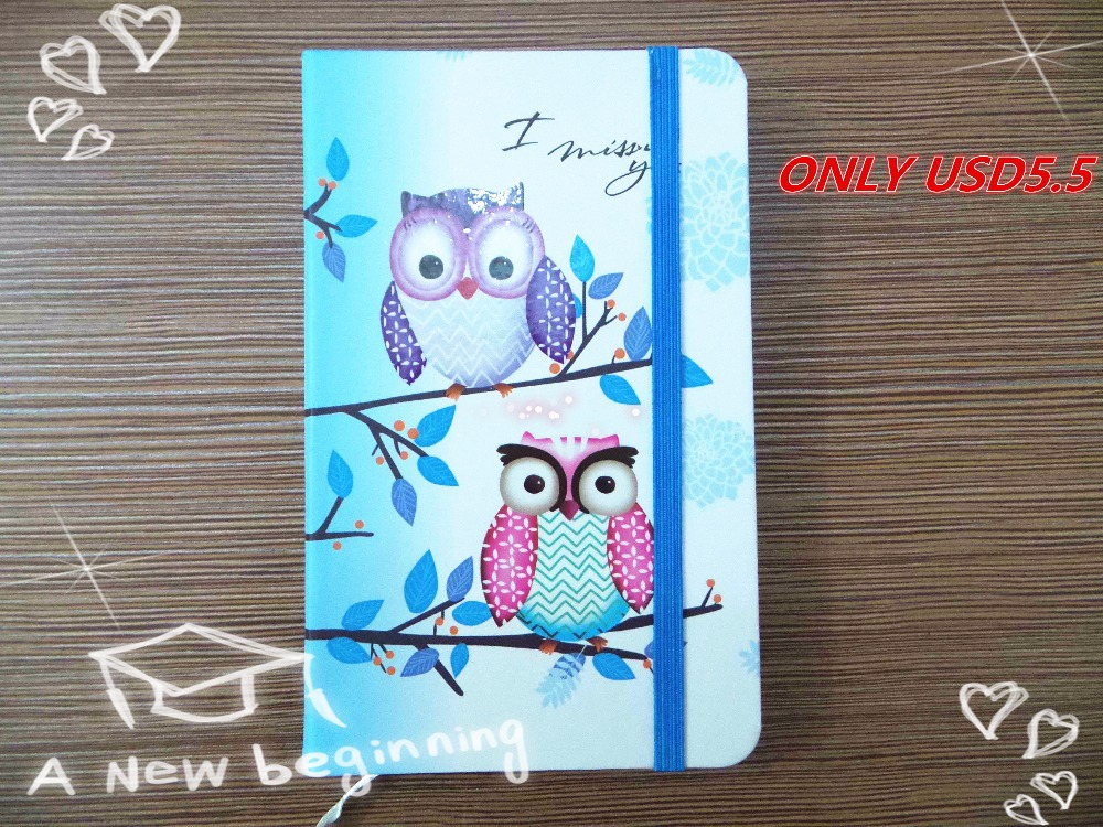 Fashionable Cute Charming Mini Portable Owl Hard Cover Paper Diary Notebook School Memo Note Book Notepad Free Shipping