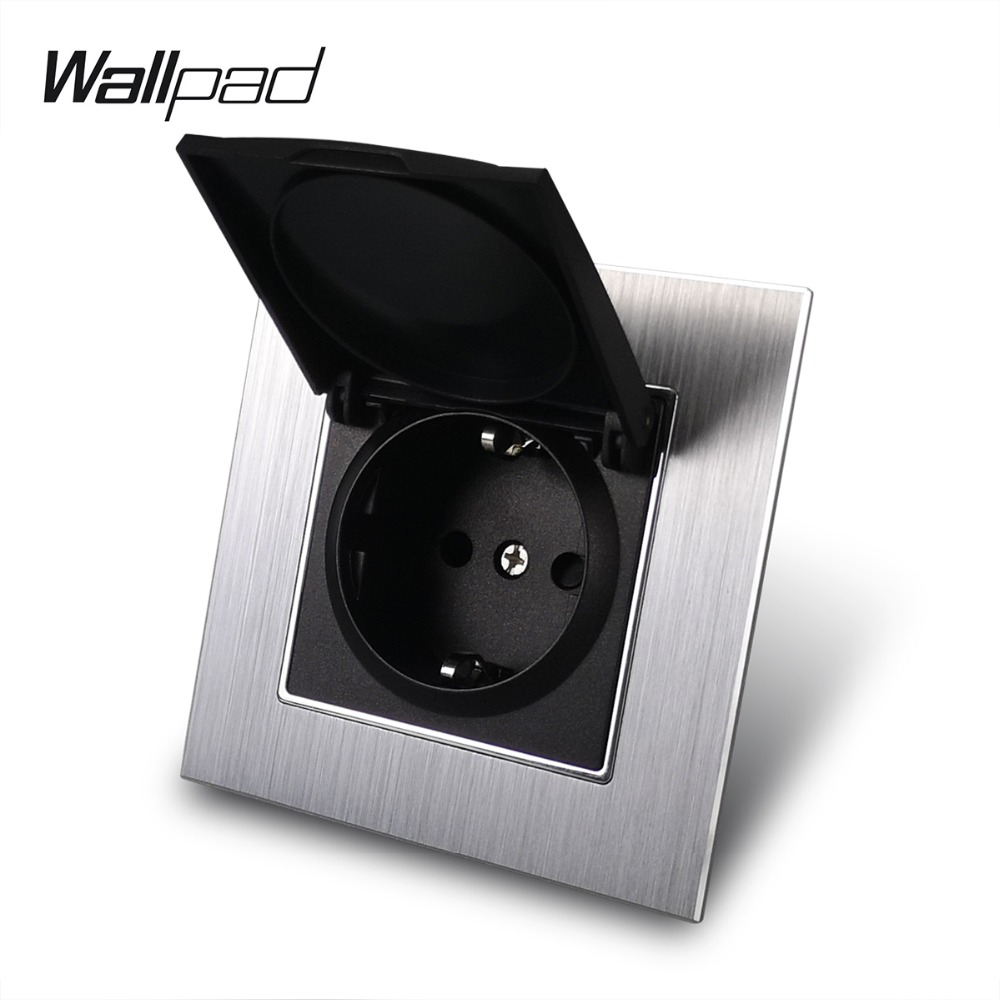 Metal 16A EU Socket with Dust Cap Wallpad 86*86mm 110V-240V AC Silver Metal Panel Wall Power Supply 16A Schuko Socket with Claws