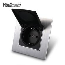 цены на Metal 16A EU Socket with Dust Cap Wallpad 86*86mm 110V-240V AC Silver Metal Panel Wall Power Supply 16A Schuko Socket with Claws  в интернет-магазинах