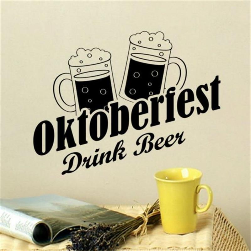 US $9.59 20% OFF|Lustige Home Decor Lassen\'s Trinken Bier Oktobertest Vinyl  Wandaufkleber Entfernbarer Kleber Küche Kunst Wandbilder-in Wandaufkleber  ...