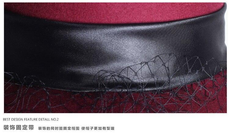 Mulheres Chapéu Flexível de Lã Floral Véu Compensação Pena Aba Larga ... d36c2784de5