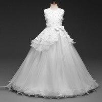 Girls Wedding White Dress For Girl 2018 Summer Long Party Dresses Flower Princess Kids 5 6 7 8 9 10 12 Years Teen Children
