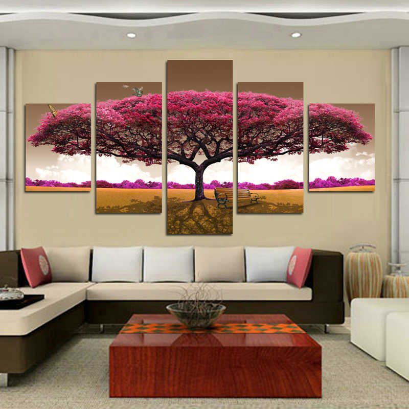 5 Panel Big tree butterfly Canvas Painting Oil Painting Print On Canvas Home Decor Art Wall Picture For Living Room Unframed
