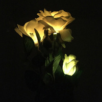 LED 3 Head Rose flower Solar Light LED Decorative Outdoor Lawn Lamp Home Garden Fake Flower Night Lights IP44 Waterproof Lamps
