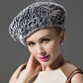 ZDFURS   invierno Real de piel de conejo rex sombrero boina invierno de las  mujeres sombrero con piel de zorro de la flor venta al por mayor ZDH-161003 9a215fcf86c