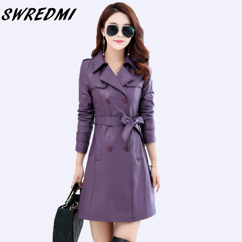 SWREDMI Double Breasted Sashes Slim Women Long   Leather   Trench Office Lady   Leather   Clothing Fashion Autumn   Leather   Coats   Suede