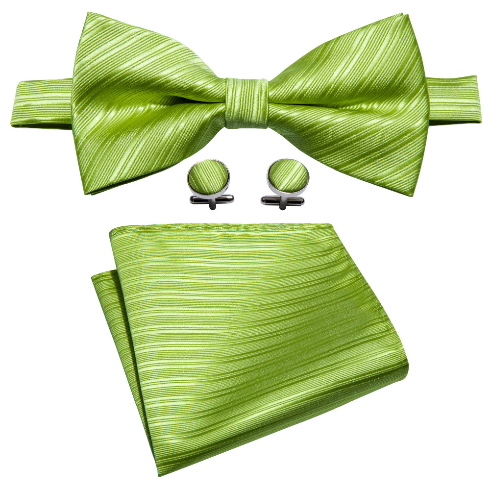 New Arrival Green Solid Men's Bowtie For Wedding Barry.Wang Woven 100% Silk Butterfly Dropshipping Bow Ties For Men Party LH-811