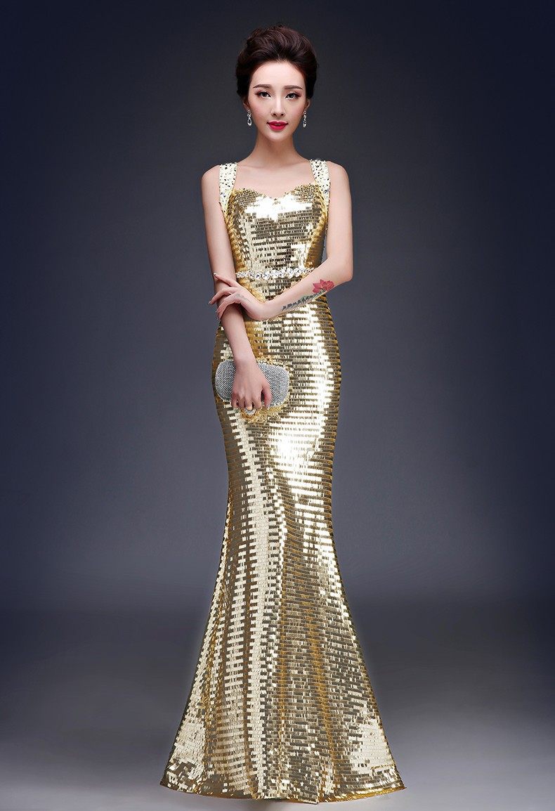 Party dresses 2015 Sexy Beaded Red Blue gold silver Formal Long ...