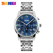цены на 2016 New Arrival SKMEI 9121 Men Quartz Watch Male Roman Numeral Dial Wristwatch Stainless Steel Business Watch Relogio Masculino  в интернет-магазинах