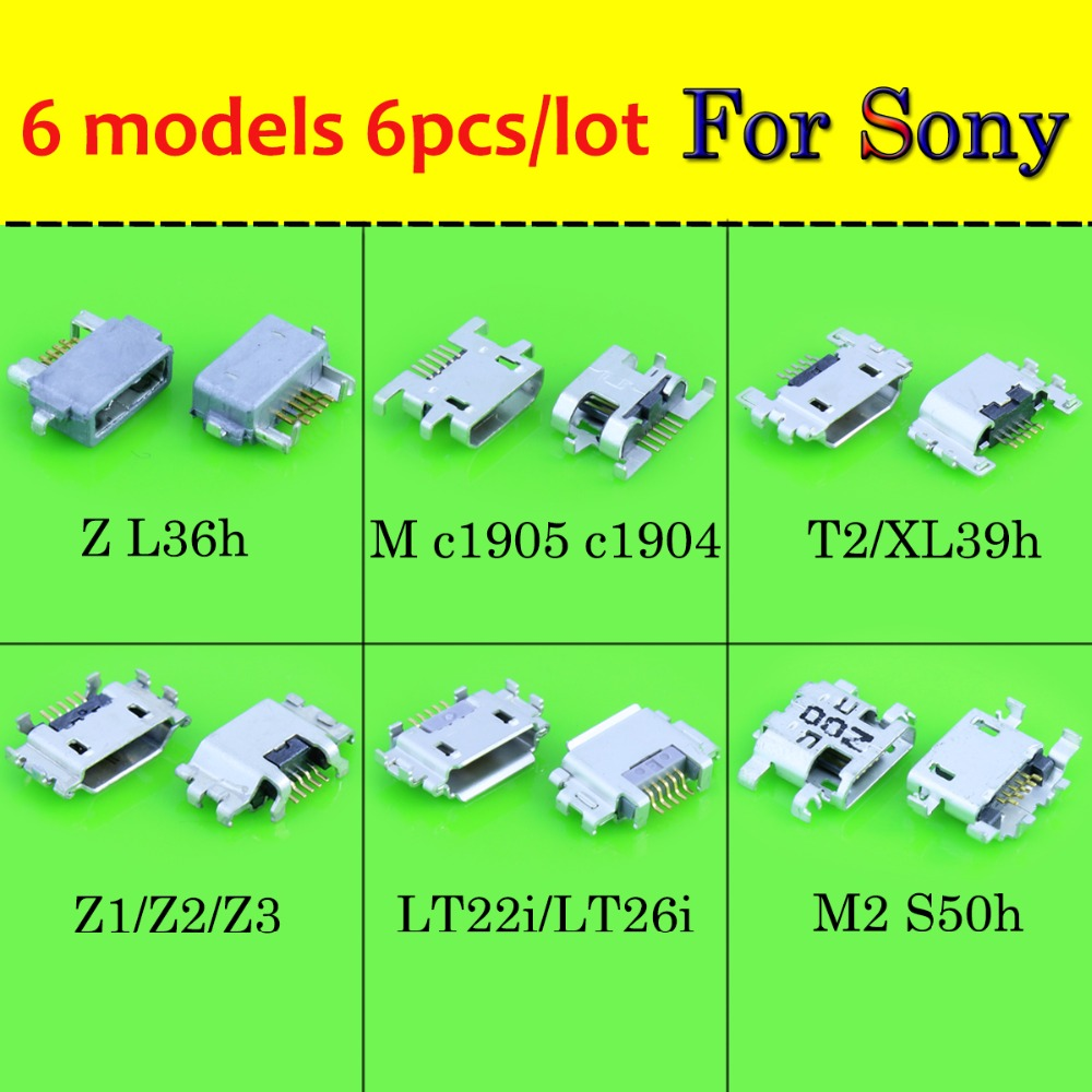 6models Micro USB Jack Charging Port For Sony <font><b>Xperia</b></font> Z2 L50W Z1 <font><b>Z3</b></font> <font><b>Compact</b></font> Z Ultra XL39H S Lt26i Power <font><b>Charger</b></font> Connector Socket