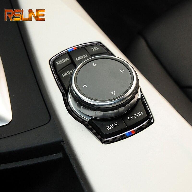 Para BMW 1 2 3 4 5 7 Serie X1 X3 X4 F30 F10 F34 F07 F01 de fibra de carbono del Interior del coche botones Multimedia marco de recorte cubierta de la etiqueta engomada