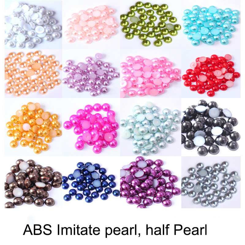 2mm HALF ROUND RESIN *PEARL BEADS* FOR NAIL ART GREY CRAFT IMITATION