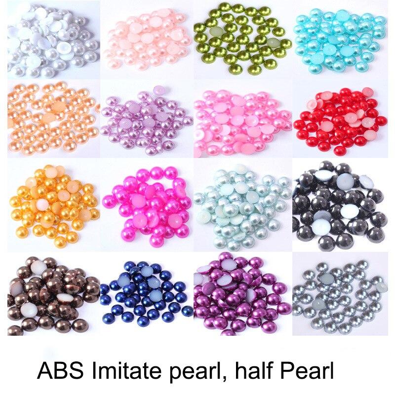 2-14mm półokrągłe imitacja akrylu Flatback Pearl koraliki perły dla rzemiosła DIY dekoracje paznokci biżuteria artystyczna ustalenia akcesoria