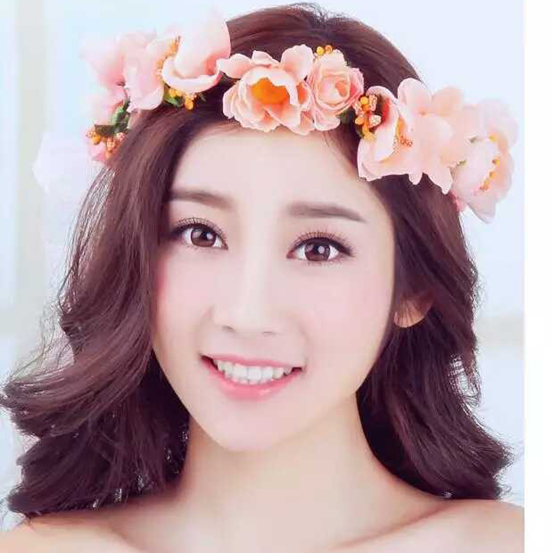 hair bands style new style flower garland headdress wedding hair 7750 | New Style Girls Flower Garland Headdress Wedding Hair Wreath Hair Bands Flower Seaside Headband Hair Accessories