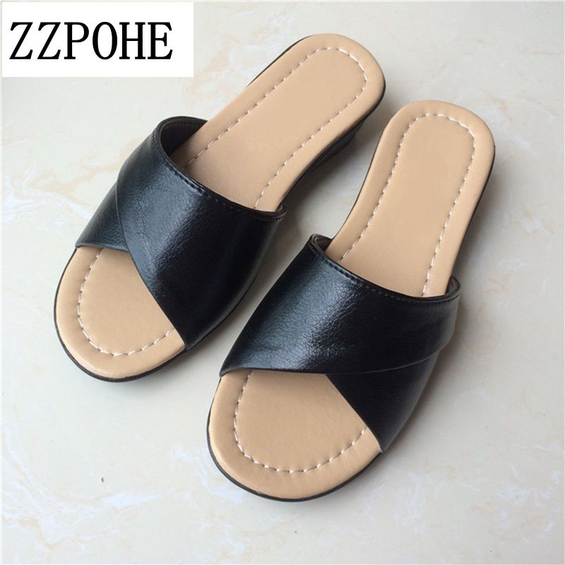 ZZPOHE 2017 Summer fashion mother Shoes Women Soft bottom slippers large size elderly ladies slippers comfortable Female sandals zzpohe 2017 summer new mother sandals elderly fashion casual leather female flat sandals hollow large size women sandals 41 42