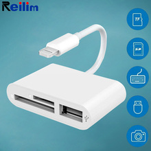 Reilim OTG USB Camera adapter for lightning to micro SD TF card reader kit for iphone ipad for apple ios 13 converter цена