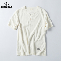 Men S Cotton Linen V Neck Button Short Sleeved T Shirt 2017 Summer Thin Section Loose