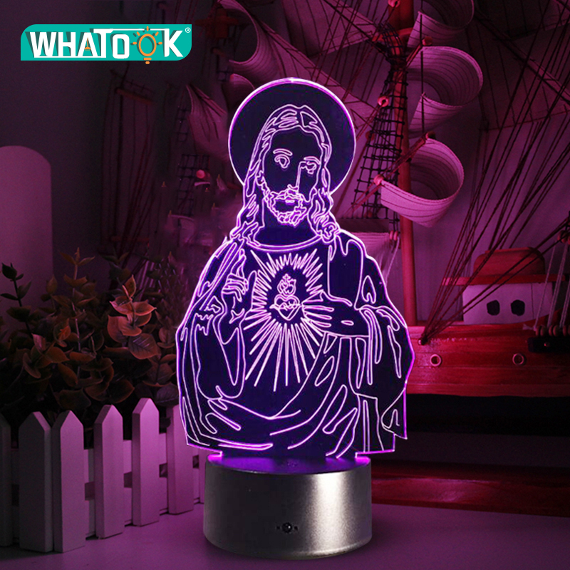 3D Acrylic LED Night Lights Illusion Jesus Christ Optical Lamps Lighting Inshallah Christian God USB Touch Luminous Novelty Gift