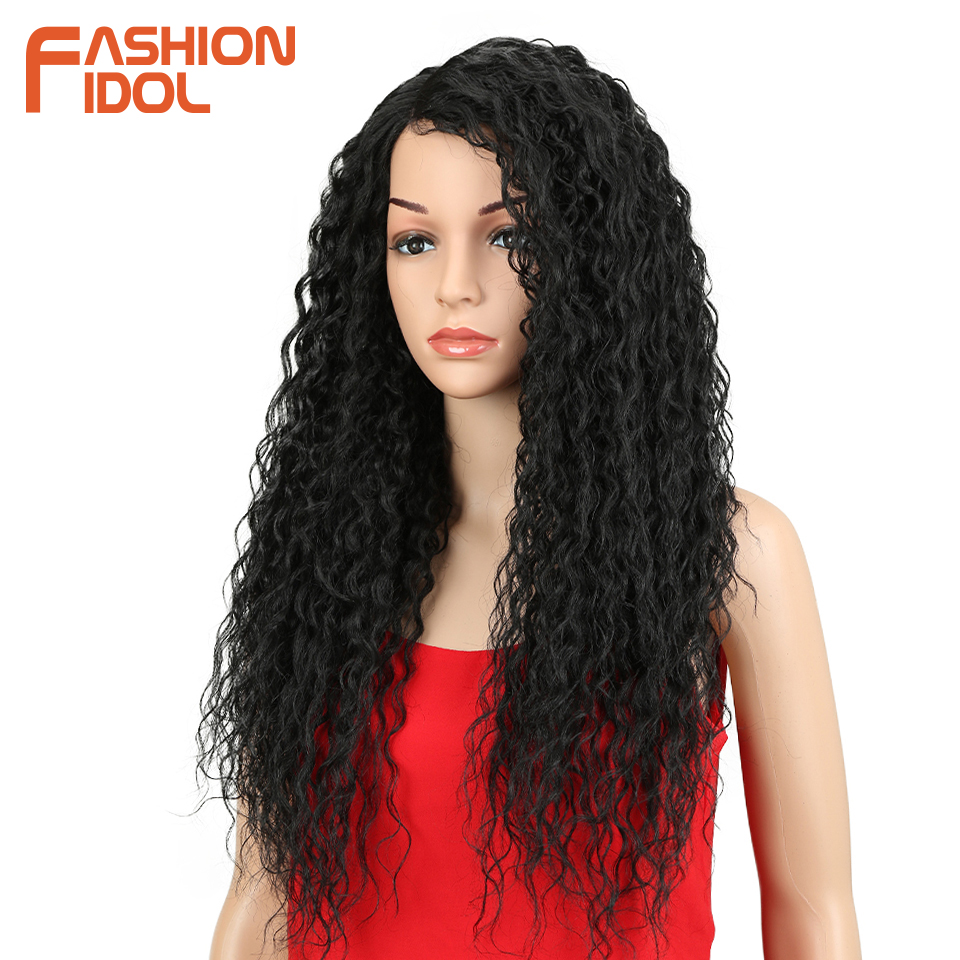 """FASHION IDOL Wigs For Black Women Kinky Curly Hair 26"""" Synthetic Lace Front Wig Glueless Heat Resistant Fiber With Hair Lace Wig"""